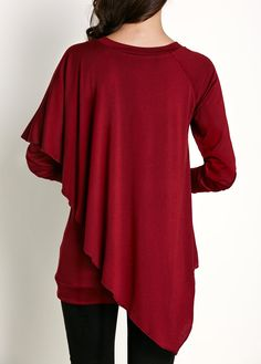 ba2523b6e0c V Neck Long Sleeve Asymmetric Hem T Shirt on sale only US 27.79 now