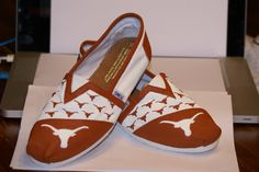 A personal favorite from my Etsy shop https://www.etsy.com/listing/182310217/custom-hand-painted-toms-texas-longhorns