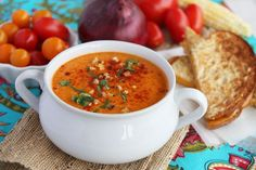 Roasted Sweet Corn and Tomato Soup from Our Best Bites. serve with artisan bread and smokey melted cheese sandwich. drool!