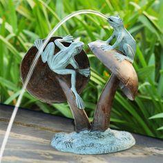Frog Duo And Mushroom Garden Statue   Eclectic   Garden Statues .