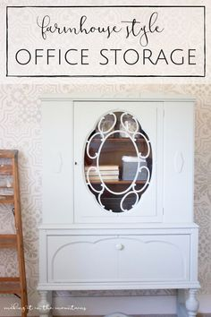 This gorgeous vintage cabinet was the perfect way to add some farmhouse style office storage that is both practical and beautiful!   www.makingitinthemountains.com