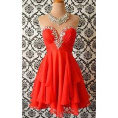 Red Mini Sweetheart A Line Chiffon Sleeveless Strapless Beading Short... ($129) ❤ liked on Polyvore featuring dresses, red mini dress, short mini dress, red sleeveless dress, strapless homecoming dresses and mini dress