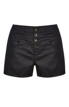 Primark - Shorts de polipiel negros