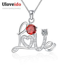 Find More Pendant Necklaces Information about Long Love Necklaces For Women Fashion Silver Plated Suspension Accessories Necklace Jewelry Red Stone Gift For Your Loved N126 B,High Quality necklace turtle,China gift Suppliers, Cheap necklace bezel from ULOVE Fashion Jewelry on Aliexpress.com