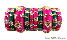 silk thread jewelry Bangle Earring Jumka-Yaalz Heavy Kundan Stone Bridal Partywear Bangles Set In Rani Pink & Dark Green Colors-YAALZ Silk Thread Bangles Design, Silk Bangles, Bridal Bangles, Thread Jewellery, Fabric Jewelry, Handmade Jewellery, Bridesmaid Accessories, Bridesmaid Jewelry Sets, Bridal Jewelry Sets