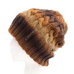 63d5ef56770 Brown Cable Knit Beanie for Frizz Free Hair - Adult large Winter Hat with  Optional Satin Lining and Matching Pom Pom Sold Separately
