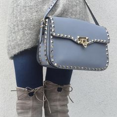 Today -  #HM knit and jeans, #StuartWeitzman #HighlandBoots and #Valentino bag.