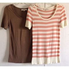 Ann Taylor Loft Sweater Bundle Excellent condition! Each one has just a tiny bit of wear mostly in the underarms. Super cute Ann Taylor Loft short sleeve sweaters. Three button detail on one shoulder of each. One is peach and cream stripes with silver buttons. Second is all brown with darker silver buttons. Very thin knit perfect for layering. Pretty long like a tunic. Soft rayon and silk blend. Layered area around the neckline. Size medium. Ann Taylor Loft Sweaters Crew & Scoop Necks
