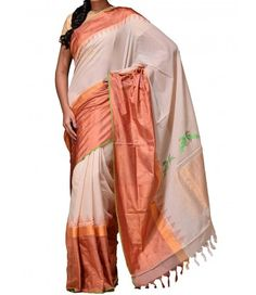 Cream Pure Handloom Khadi Cotton Saree