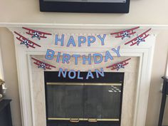 Thank you for visiting my shop! Current processing time is two weeks. Your order will be shipped via USPS first class mail which takes an additional 2-5 business days. Vintage airplane Happy Birthday banner Vintage airplanes with name in between. This can be made in your choice of colors. Airplane is approximately 12 inches long. Each letter is approximately3x5. Name banners also available in this theme. Take a look in the Trains, Planes & Trucks section of my shop The mantle in this...