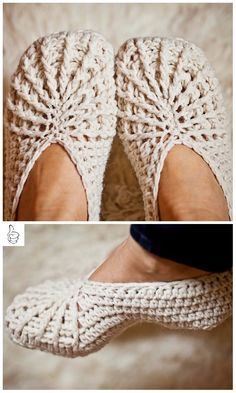 Crochet Women Slippers Shoe Patterns -Spider slippers 10 Patterns to Make Crochet Slippers These ten patterns to make crochet slippers represent the b. Easy Crochet Slippers, Crochet Boots, Crochet Clothes, Crochet Baby, Knit Crochet, Crotchet, Crochet Shoes Pattern, Shoe Pattern, Free Crochet Slipper Patterns