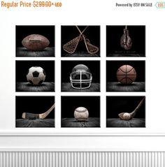 FLASH venta hasta medianoche los deportes colección serie negra clásica, conjunto de nueve de la lona impresiones, decoración infantil, decoración rústica, Vintage deportes D