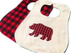 Lumberjack Baby Bib Buffalo Plaid Red Black by SeacliffeCottage