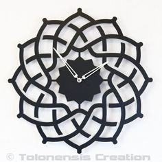 "Metal Wall clock ARABESQUE - 40 cm / 16"" - Laser cutting design - © Tolonensis Creation - This clock is an original creation designed by french creator Jacques Lahitte. Shipping within EU countries, USA, Canada, Japan, Australia... !! BEWARE to Ugly poor ILLEGAL COPY on the Net !! Prefer the original !"
