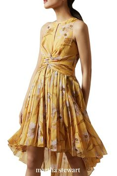 A floral dress with a high-low hem and cascading pleats looks lovely in yellow. #weddingideas #wedding #marthstewartwedding #weddingplanning #weddingchecklist Yellow Midi Dress, Pleated Midi Dress, Plunge Dress, Nordstrom Dresses, Types Of Fashion Styles, Dresses Online, Women's Dresses, Dress Making, Ted Baker