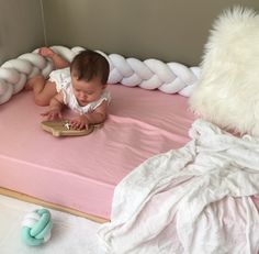 Floor Bed! I'm thinking of transitioning our baby girl to a floor bed, Montessori style. Malia Mu's Braid Cushion is perfect for preventing accidental rolling out of the bed and waking up :)