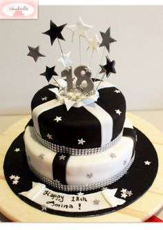 Black and white 18th birthday cake