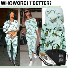 Who Wore It Better?Rihanna vs.Jourdan Dunn in Zoe Karssen's Paradise Pineapple Print Sweatshirt and Sweatpants on Polyvore