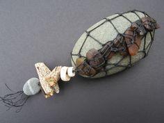 Shannon Weber, Oregon Stitched Oregon beach glass on stone