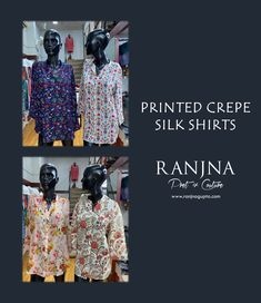 Printed Crepe Silk Shirts. (Design & Creation by RANJNA) For orders, appointments, online measurements or general enquiries please call Mr. Shishir Gupta - 77 22 000 459. #tops #crepe #silk #crepesilk #comfortwear #comfortclothing #casualwear #casualclothing #ranjna #ranjnapune #ranjnafabrics #shirts #cottonfabrics #linenfabrics #cotton #linen #rayon #linendress #comfortwear #fashion #indianfashion #designerclothing #clothingdesigner #styleoftheday #buyonline #shoponline Casual Wear, Casual Outfits, Vera Bradley Backpack, Indian Fashion, Cotton Fabric, Silk, Prints, Tops, Design