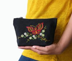 Butterfly purse Hand Embroidery Makeup bag by TheEmbroideryCart