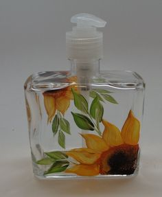 Shop a great selection of Hand painted Soap/Lotion Dispenser Sunflowers. Find new offer and Similar products for Hand painted Soap/Lotion Dispenser Sunflowers. Sunflower Bathroom, Sunflower Kitchen, Sunflower Seeds, Hand Sanitizer Dispenser, Glass Dispenser, Soap Dispensers, Bottle Art, Bottle Painting, Bottle Crafts
