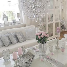 Cute feminine decor. Ideas for walk in closet with makeup area.