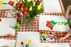 tulpen naschilderen - de spelende kleuter