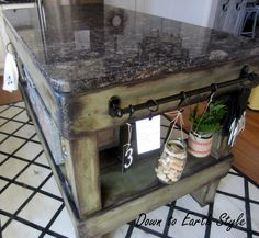 Down to Earth Style: Kitchen Island Accents - things to add to a DIY Kitchen island that are pretty AND useable!