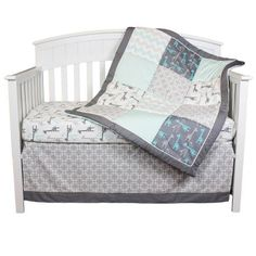 The Peanut Shell Crib Bedding Set - Grey and Aqua - Uptown Giraffe 4 Piece Baby Bedding Collection - Walmart.com