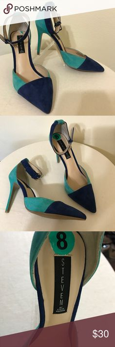 Steven Steve Madden Aqua Blue Suede Heels 8 New Label-Steven by Steve Madden Style- All Suede 2 Tone Color Block Ankle Strap Stiletto Heels. The Ankle Strap and Tow are the Blue.  Size- 8 Heel Height- 4.25 Color-Aqua and Cobalt Blue    Fabric- Suede Leather  Condition- New without tags Origin-China Steven By Steve Madden Shoes Heels
