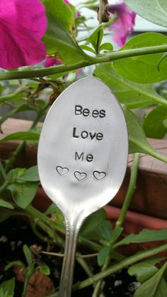Garden Marker & Decoration - Upcycled silverware - Handstamped