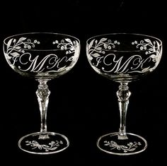 Coupe champagne monogrammed glasses for the big day! Yes please!