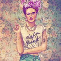 Ciraolo, Chilean illustrator...I agree...Frida would have totally been a daft punk fan
