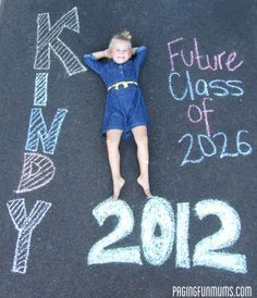 Great Idea for Kindergarten! Start date & finish date! Chalk. Want to do this with Addi this summer :)