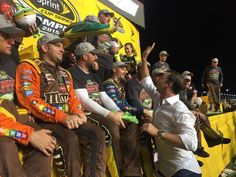 Crew Chief #ChadKnaus swings by Victory Lane to congratulate the @JoeGibbsRacing team! -MM [Twitter @misssprintcup]