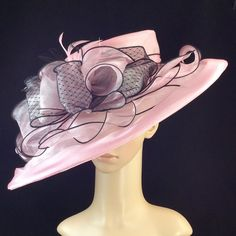 Womens Pink Kentucky Derby Hat,wide brim,Bridal Wedding Hat Tea Party Horse Race #Handmade #Derby