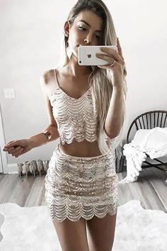Sexy Two-Piece Homecoming Dresses,Spaghetti Straps Homecoming Dress With Sequins