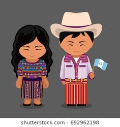 Guatemalans in national dress with a flag. Man and woman in traditional costume. Travel to Guatemala. Anastasia, Guatemala Flag, Nativity Costumes, Patriotic Symbols, World Thinking Day, Hispanic Heritage Month, Westerns, Flat Illustration, People Of The World
