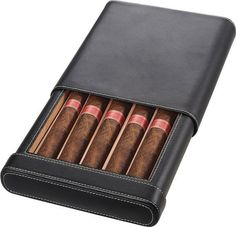 Leather Cigar Case Humidor With Cigar Bed & Humidifier Holds 6 Count