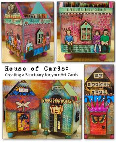 House of Cards - Creating a Sanctuary for your Artcards.by MJChadbourne/Desert Dream Studios/All Rights Reserved/Copyright 2013 Altered Tins, Atc Cards, Journal Cards, Paper Art, Paper Crafts, House Illustration, Artist Trading Cards, Mail Art, Skinny