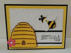 Robin Cahill hits the blog this morning as a guest designer with this bee-utiful card! http://wp.me/p4kQzc-4P0. This buzzin' card is the perfect way to cheer someone up this summer. Robin begins by crafting a base from the Els van de Burgt Studio Stitched Rectangles. Robin combines the Joset Designs's Bee & Beehive die sets for some black and yellow detail. For the perfect complimentary phrase, Robin stamps on a clear stamp from Joset's Bee Sentiments set.