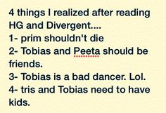 4 things that I realized after reading HG and Divergent... Lol