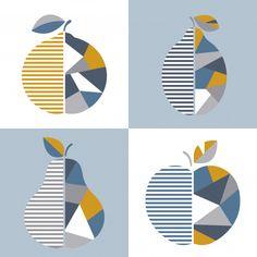 Set of modern geometric fruit illustration. Geometric Lines, Geometric Background, Background Patterns, Vector Background, Rose Gold Texture, Neon Backgrounds, Fruit Illustration, Fruit Pattern, Fruit Art