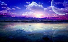 Kunstlandschaft, Meer, Wellen, Planeten, Himmel, Wolken, Sterne, Wasser…
