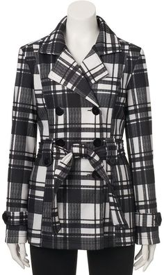 Juniors' J-2 Fleece Double Breasted Trench Coat Double Breasted Trench Coat, Teen, Plaid, Stylish, Girls, Fashion, Gingham, Toddler Girls, Moda