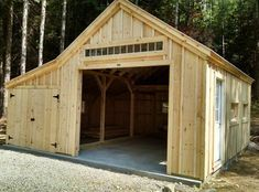 """A 14' x 20' """"One Bay Garage"""" customized with an enclosed overhang. Basic model available as a pre-cut kit (estimate assemly time - 2 people, 30 hours) or DIY plans, or customize a fully assembled building. http://jamaicacottageshop.com/shop/one-bay-garage/ http://jamaicacottageshop.com/wp-content/uploads/pdfs/pdf14x20onebaygarage.pdf"""