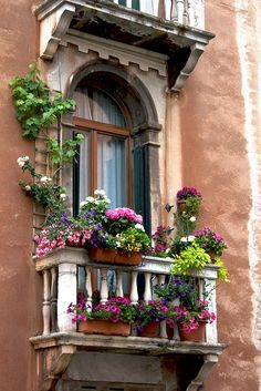 Balcony garden 496170083947793685 - The Best 21 Dazzling Balcony Gardens That You Should See – Balcony Decoration Ideas in Every Unique Detail Source by Window Box Flowers, Balcony Flowers, French Balcony, Illustration Blume, Doorway, Windows And Doors, Flower Decorations, Beautiful Gardens, Beautiful Places