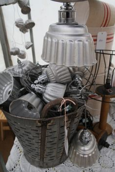jelly mould lights little and large....and yes the old olive basket is a light too!