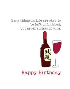 Happy Birthday Greeting With Wine To Post On Friends Wall